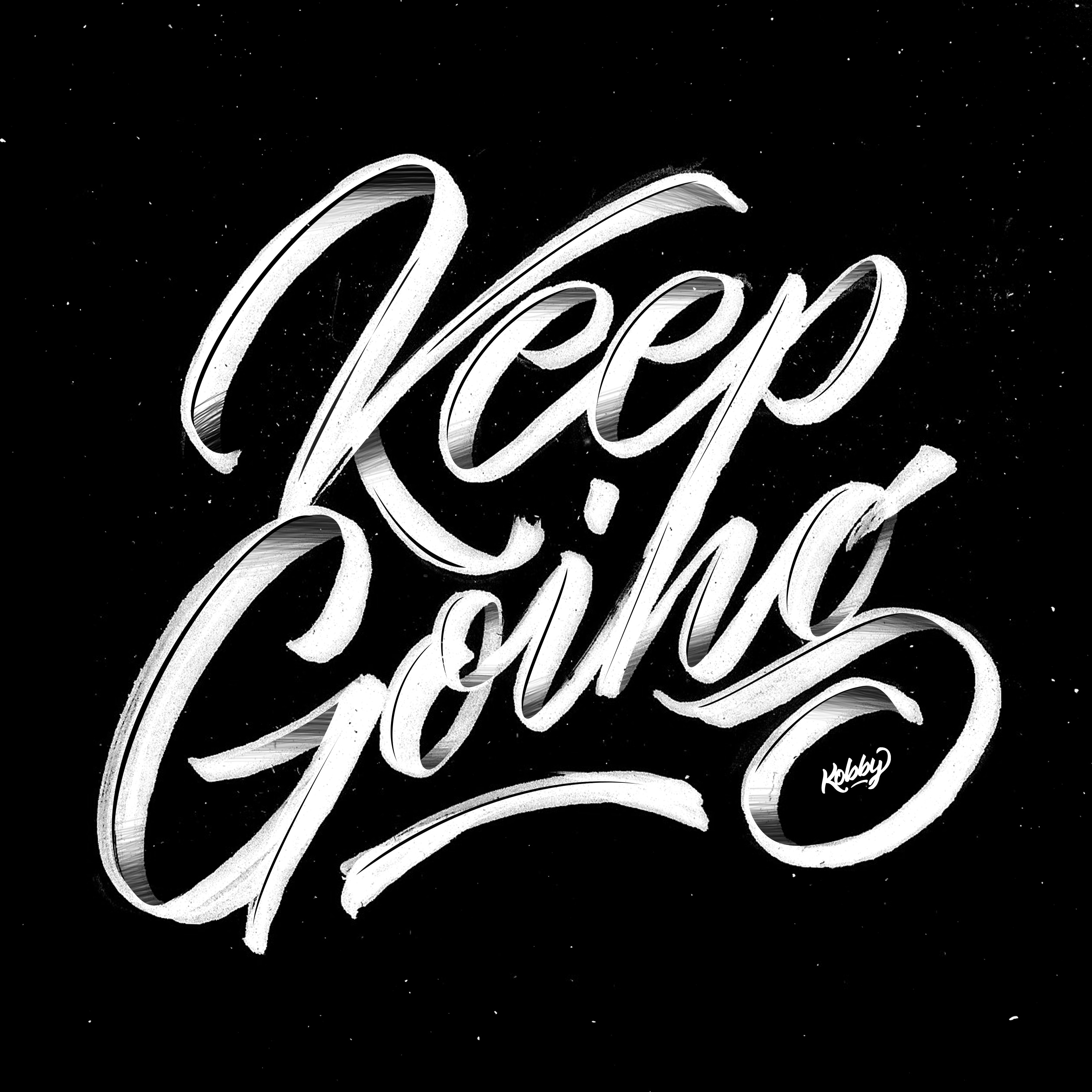 Keep going lettering