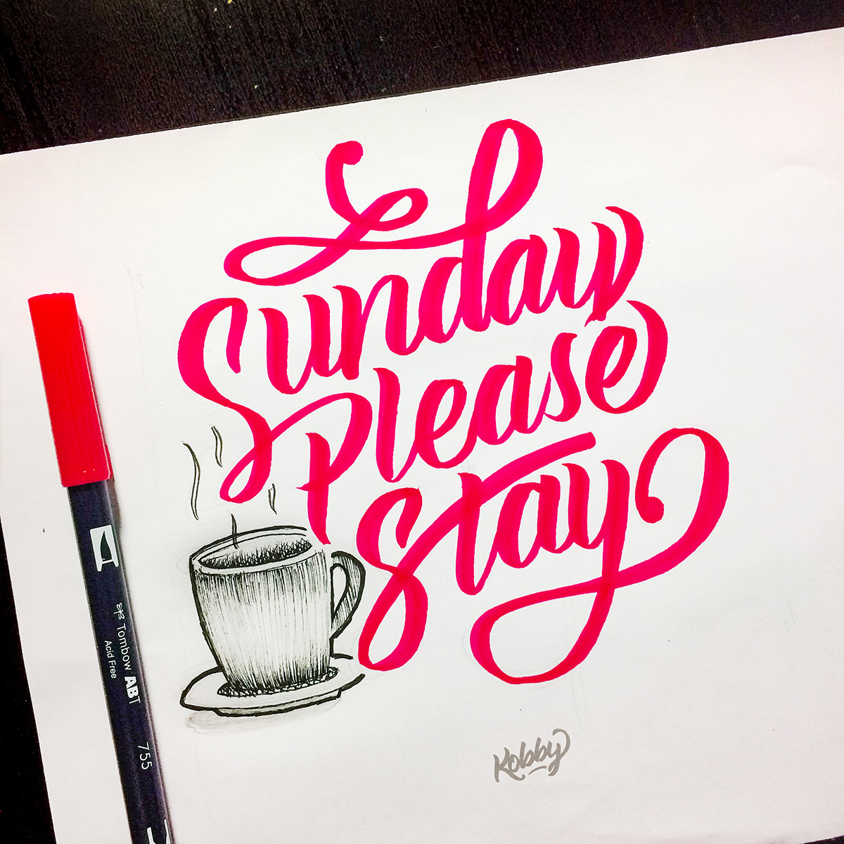 Sunday please stay lettering